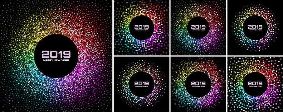 New Year 2019 Card Backgrounds set. Bright Colorful Disco Lights Halftone Circle Frame isolated on black background. Confetti circle border using rainbow colors dots texture. Vector collection
