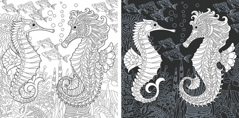 Coloring page with sea horses