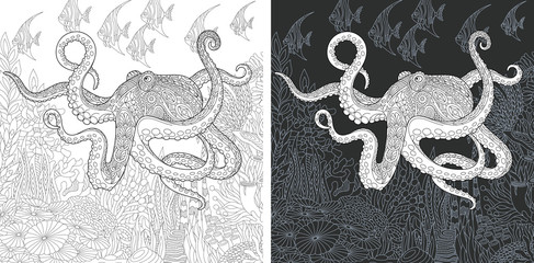 Coloring page with octopus