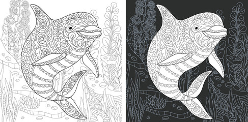 Coloring page with dolphin