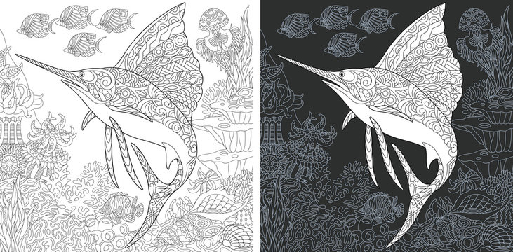 Coloring page with sailfish