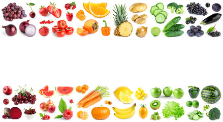 Color fruits and vegetables on white