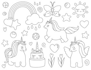 Unicorn with rainbow, stars, sun, flowers and cake. Vector artwork. Black and white. Coloring book pages for adults and kids. For print