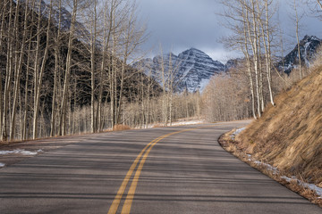 Road leading to Maroon Bells outside of Aspen Colorado during the winter.