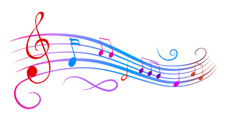Music notes wave, colorful group musical notes – stock vector
