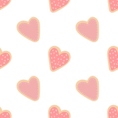 Seamless pattern of hand-drawn heart-shaped cookies. Vector image for Valentine's Day, lovers, prints, clothes, textiles, cards, holidays, children, baby shower, wrapping paper, love.