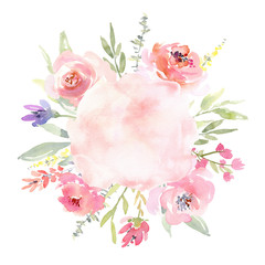 Watercolor wreath with flowers leaves, floral round frame border