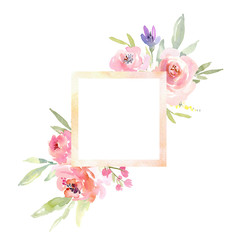 Watercolor border frame with square center, roses peonies flowers and leaves