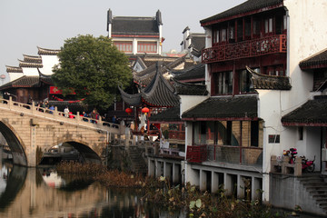 Bridge and old town in China