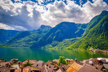 Wall Mural - Fantastic view on Hallstatt village and alpine lake, Austrian Alps,  Salzkammergut, Austria, Europe