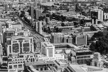 Beautiful panorama of London city taken from above in black and white,  United Kingdom