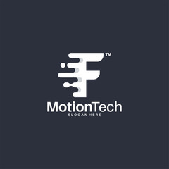 Flat Designs Fast Move A-Initial Technology logo template, Motion A-Letter Tech logo symbol, Logo icon template