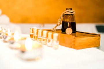 Bottle of essential oils at the massage studio