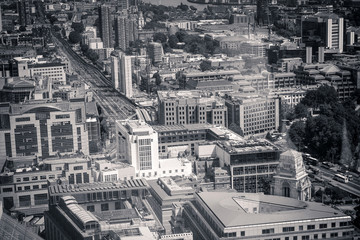 Beautiful panorama of London city taken from above in black and white,, United Kingdom