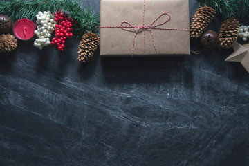 christmas present and berries background