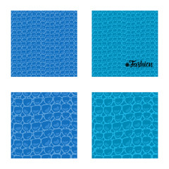 Set seamless pattern. Vector Leather Fashion texture blue trandy background. Merry Christmas and New Year luxurious holiday design card.