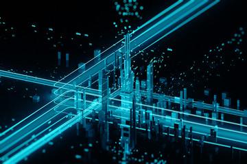 3D render of futuristic city.