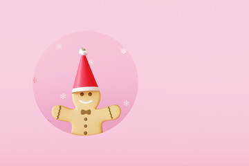 Gingerbread man with copy space on pink background.Christmas concept. 3d rendering