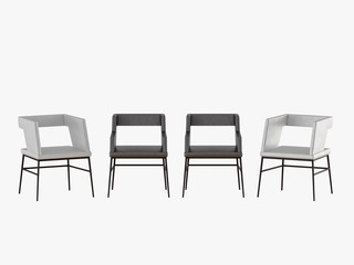 Four leather chair on a white background 3d rendering
