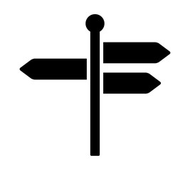 Signpost, guidepost or road sign with three different blank information arrows flat vector icon for travel apps and websites