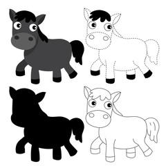 horse worksheet vector design