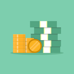 Stack of paper money and coins, flat design vector illustration