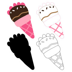 ice cream worksheet vector design