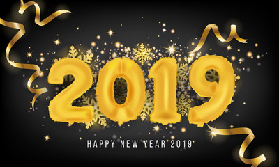 2019 Happy New Year Greeting Card Background. 2019 Balloon Vector illustration