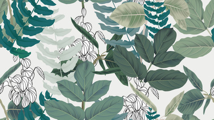 Botanical seamless pattern, green leaves on light gray background