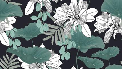 Botanical seamless pattern, green leaves and lotus leaves on dark blue background Fototapete