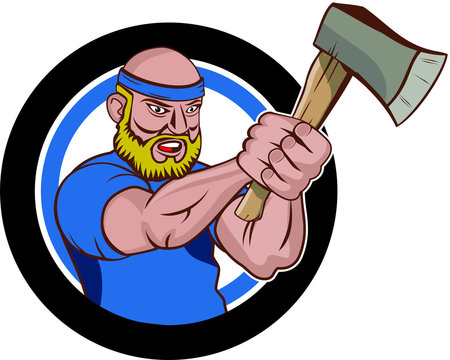 A man master axe throwing cartoon character