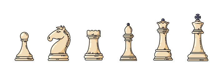 White chess pieces in a row illustration