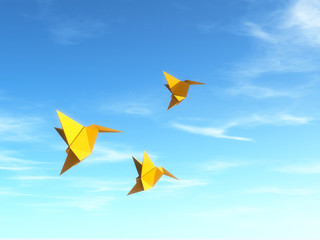 Conceptual image with origami fly birds.