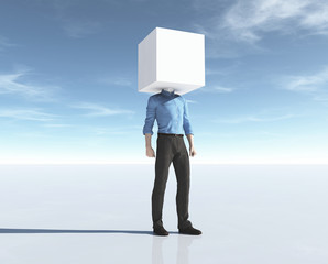 Man with his head in a cube.