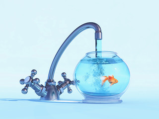 A tap over a bowl with a golden fish.