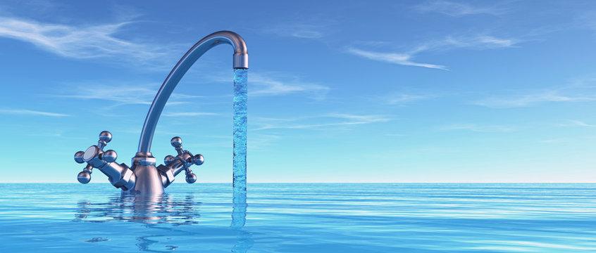 Conceptual faucet in sea.