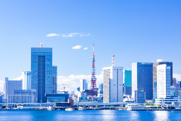 (東京都ー都市風景)晴海ふ頭から望む竹芝側風景1