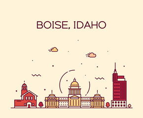 Wall Mural - Boise Idaho skyline USA vector linear style city
