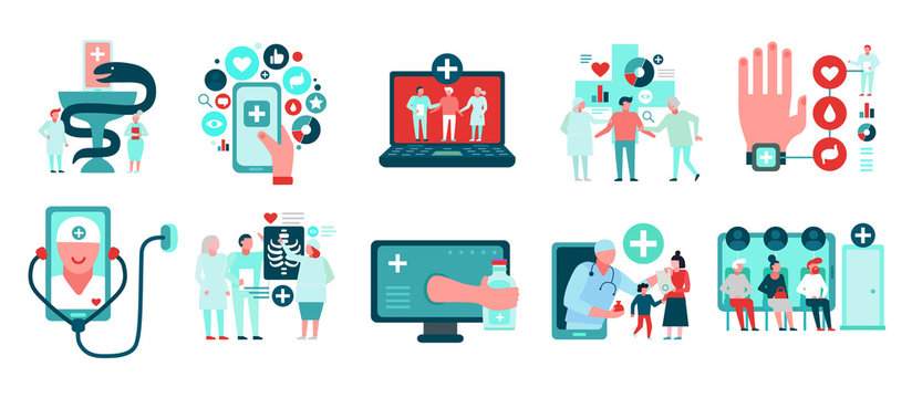 Digital Medicine Icons Set