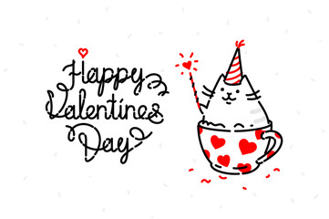 Illustration of a cat on a valentines day holiday. Image is isolated on a white background for printing, banner, website. Kitty in the cup congratulates, wishes happiness.