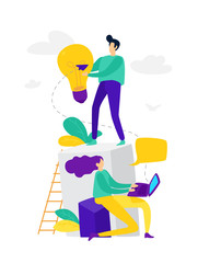 Illustration, online assistant at work, online promotion, remote work manager, search for new ideas, teamwork in a company, brainstorming.