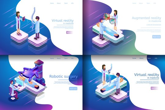 Isometric Illustration Virtual Medical Research