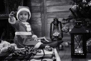 A child waiting for Santa Claus