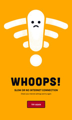 Website down Concept. Web Page not loading / opening. No Internet connection icon. Weak, no signal, bad antenna sign. Cute Wifi Character.