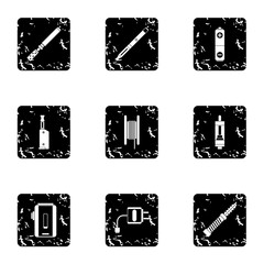 Smoking icons set. Grunge illustration of 9 smoking vector icons for web