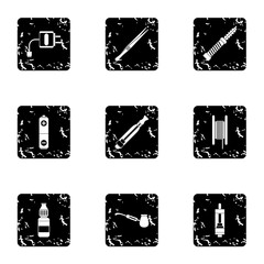 Cigarette icons set. Grunge illustration of 9 cigarette vector icons for web