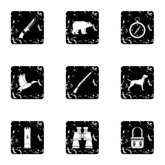 Hunting of animals icons set. Grunge illustration of 9 hunting of animals vector icons for web