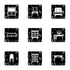 Type of furniture icons set. Grunge illustration of 9 type of furniture vector icons for web