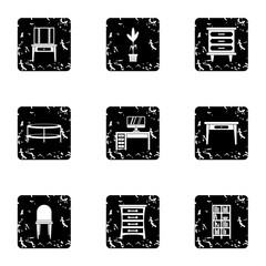 Home environment icons set. Grunge illustration of 9 home environment vector icons for web