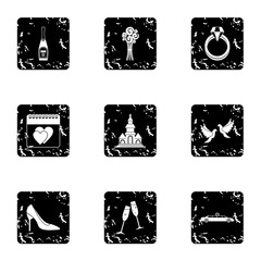 Marriage icons set. Grunge illustration of 9 marriage vector icons for web